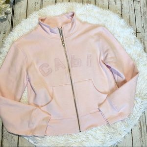 Cabi pink crop sweat jacket #350 size small